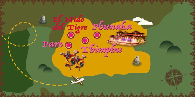 Bután - Mapa