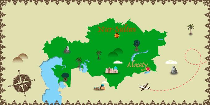 Kazajistán - Mapa