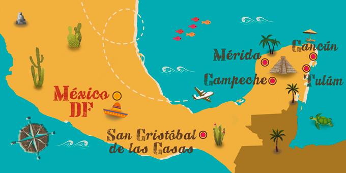 mapa viajes a México