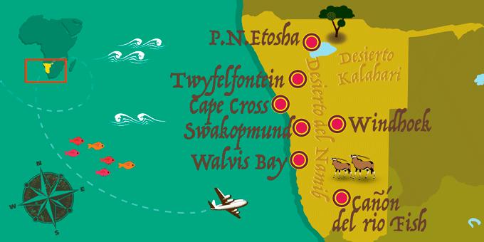 Namibia - Mapa