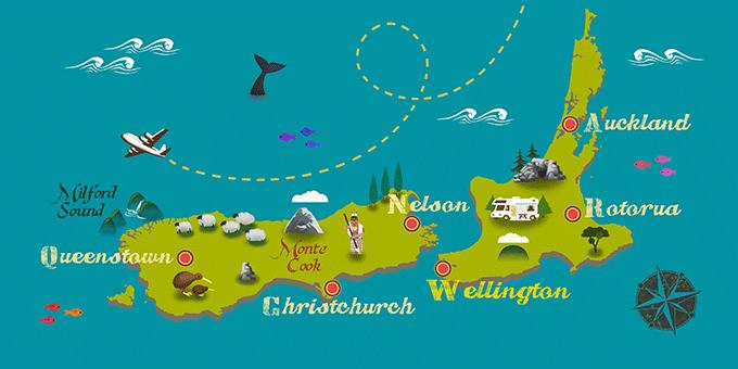 Nueva Zelanda - Mapa