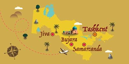 Uzbekistán - Mapa