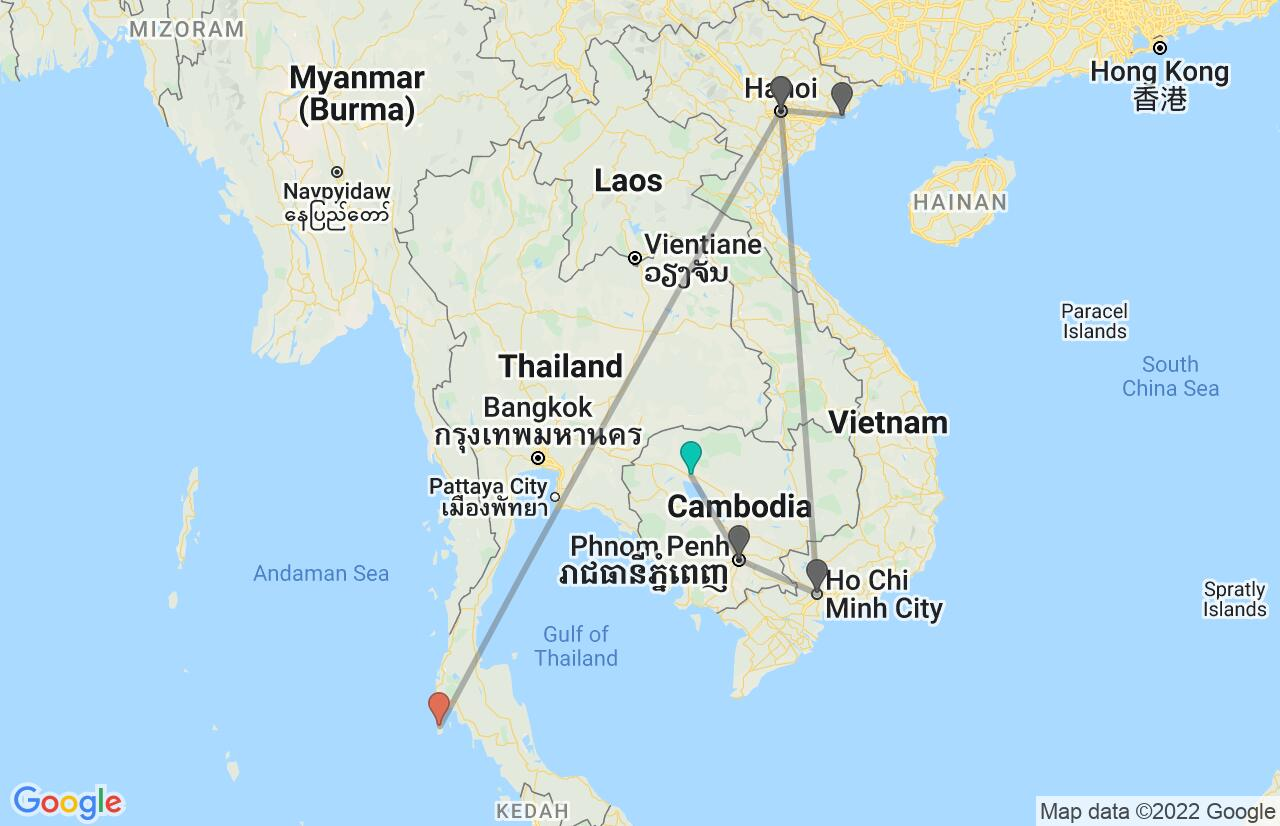 Map with itinerary in Cambodia, Vietnam & Thailand