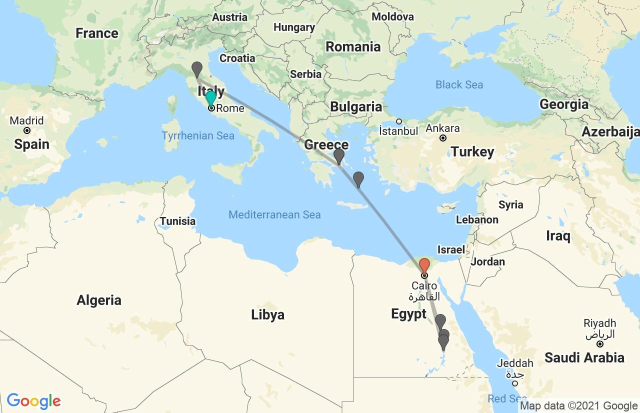 Carte avec l'itinéraire en/aux Italy, Greece & Egypt