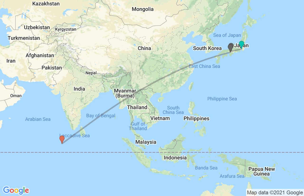 Map with itinerary in Japan & Maldives