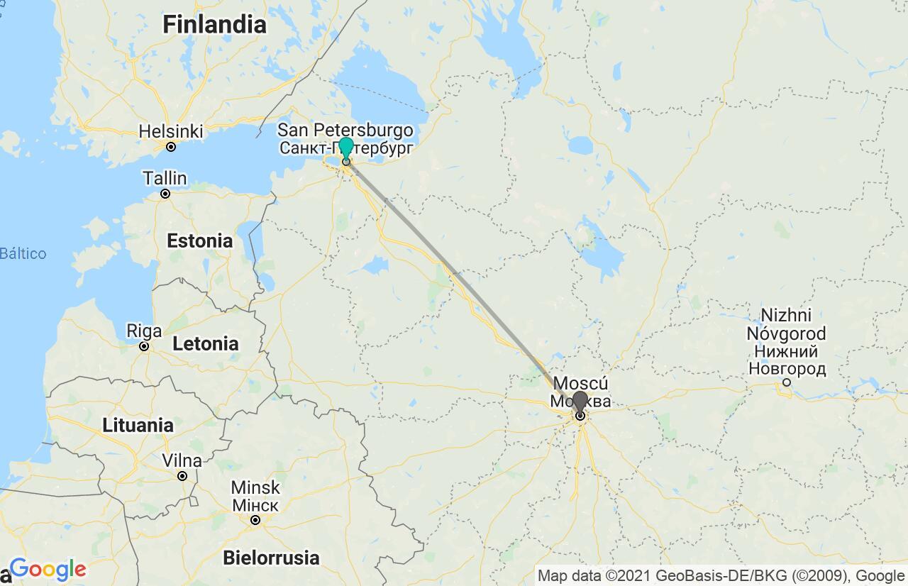 Mapa con el itinerario en Rusia