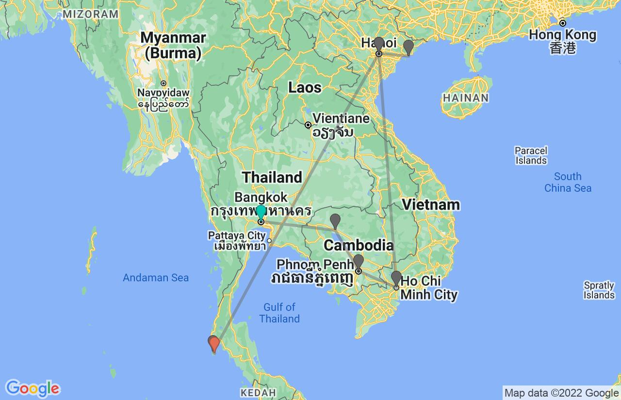 Map with itinerary in Thailand, Cambodia, Vietnam & Phuket