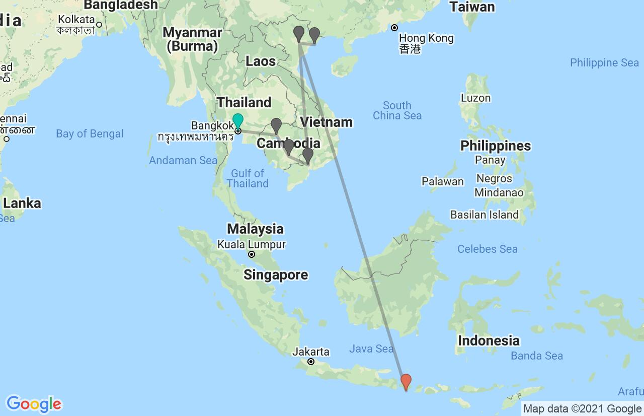 Map with itinerary in Thailand, Cambodia, Vietnam & Indonesia