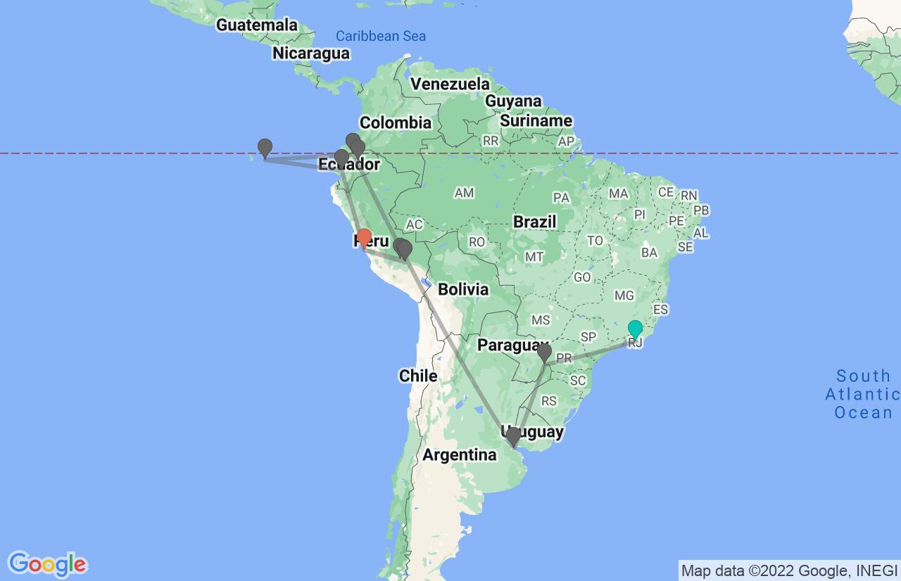 Map with itinerary in Brazil, Argentina, Ecuador & Peru