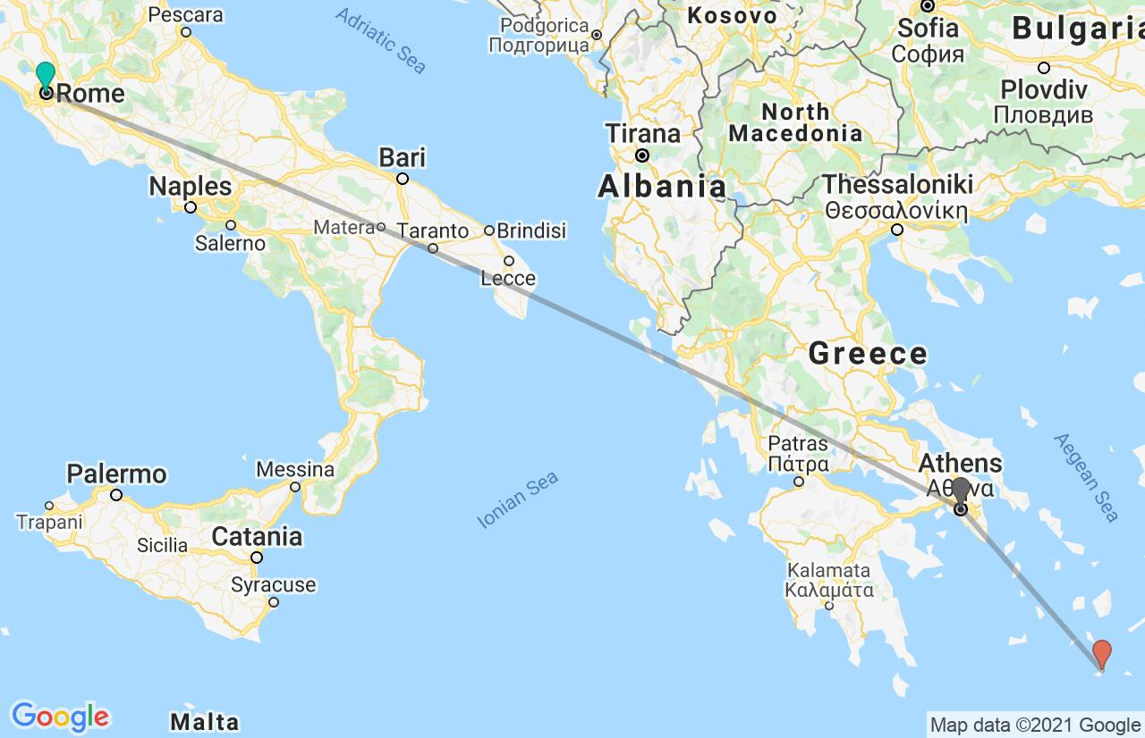 Map with itinerary in Italy & Greece