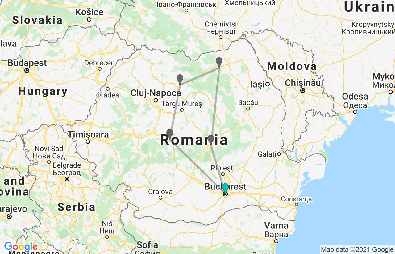 Map with itinerary in Romania
