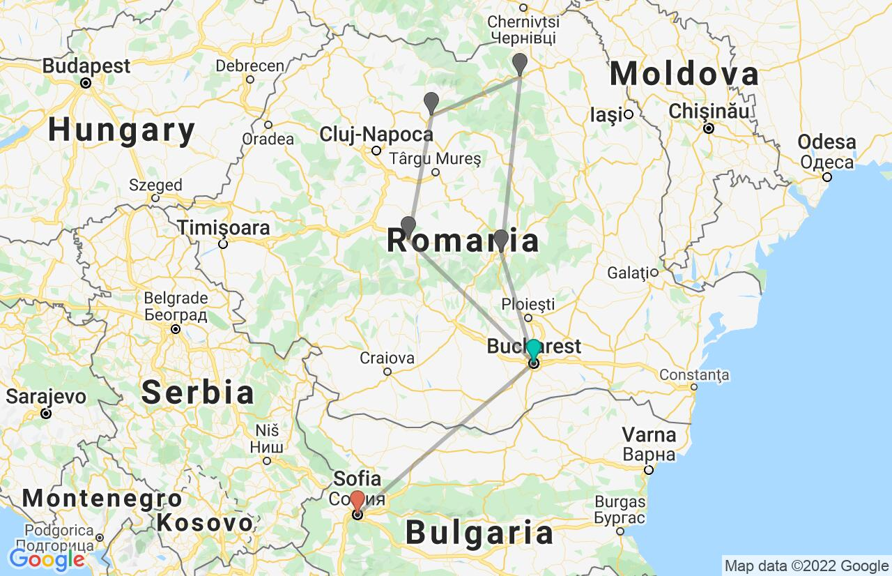 Map with itinerary in Romania & Bulgaria
