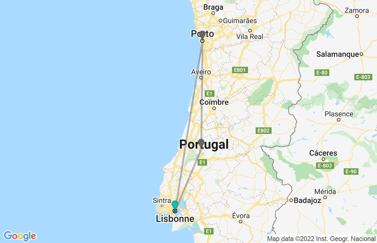 Carte avec l'itinéraire en/aux Portugal