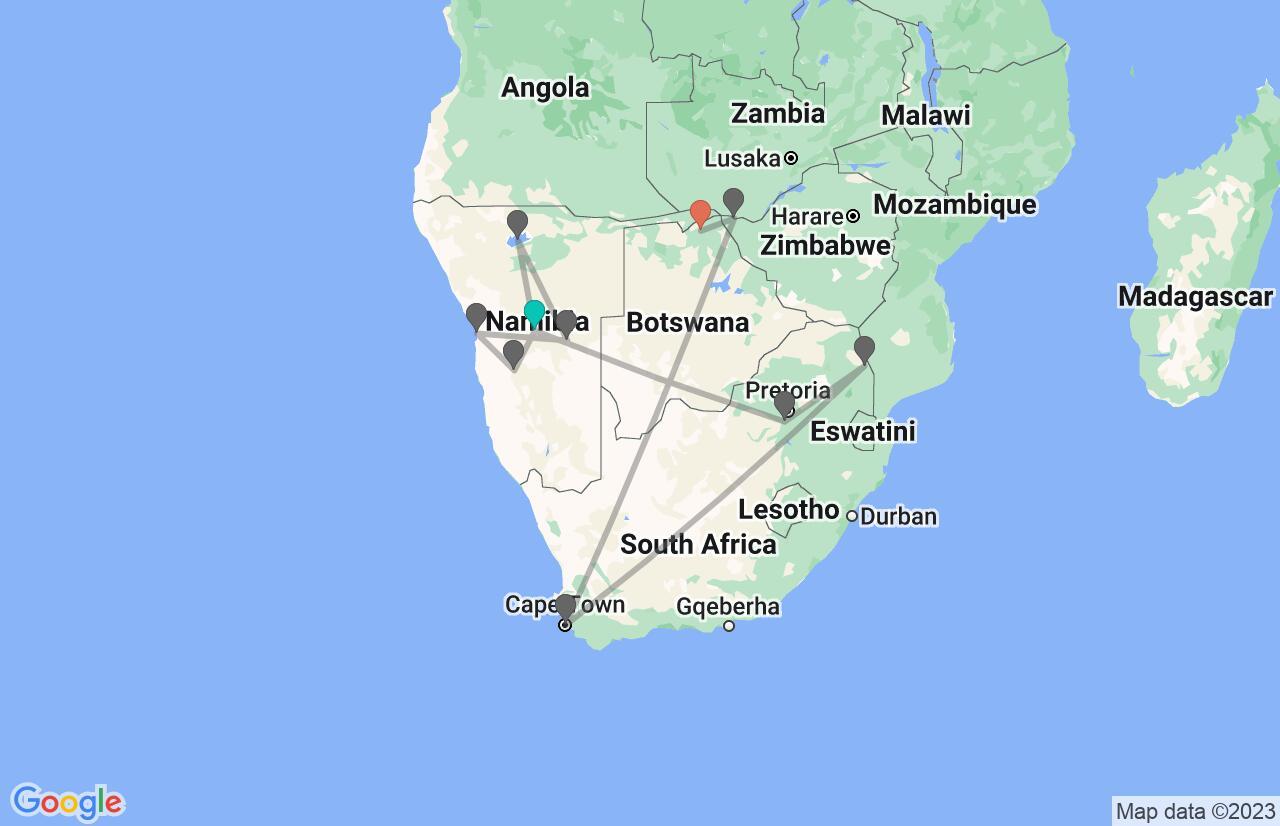 Map with itinerary in Namibia, South Africa, Zimbabwe & Botswana
