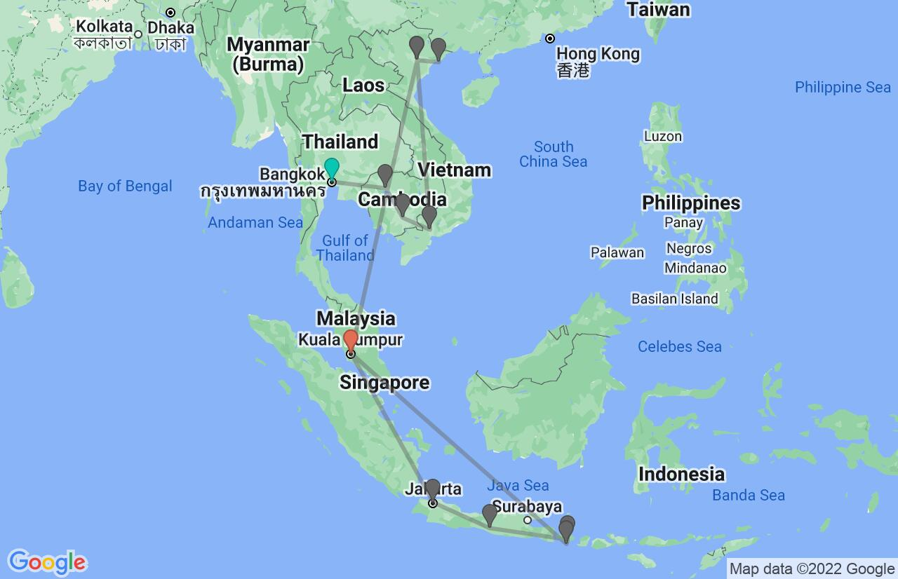 Map with itinerary in Indochina