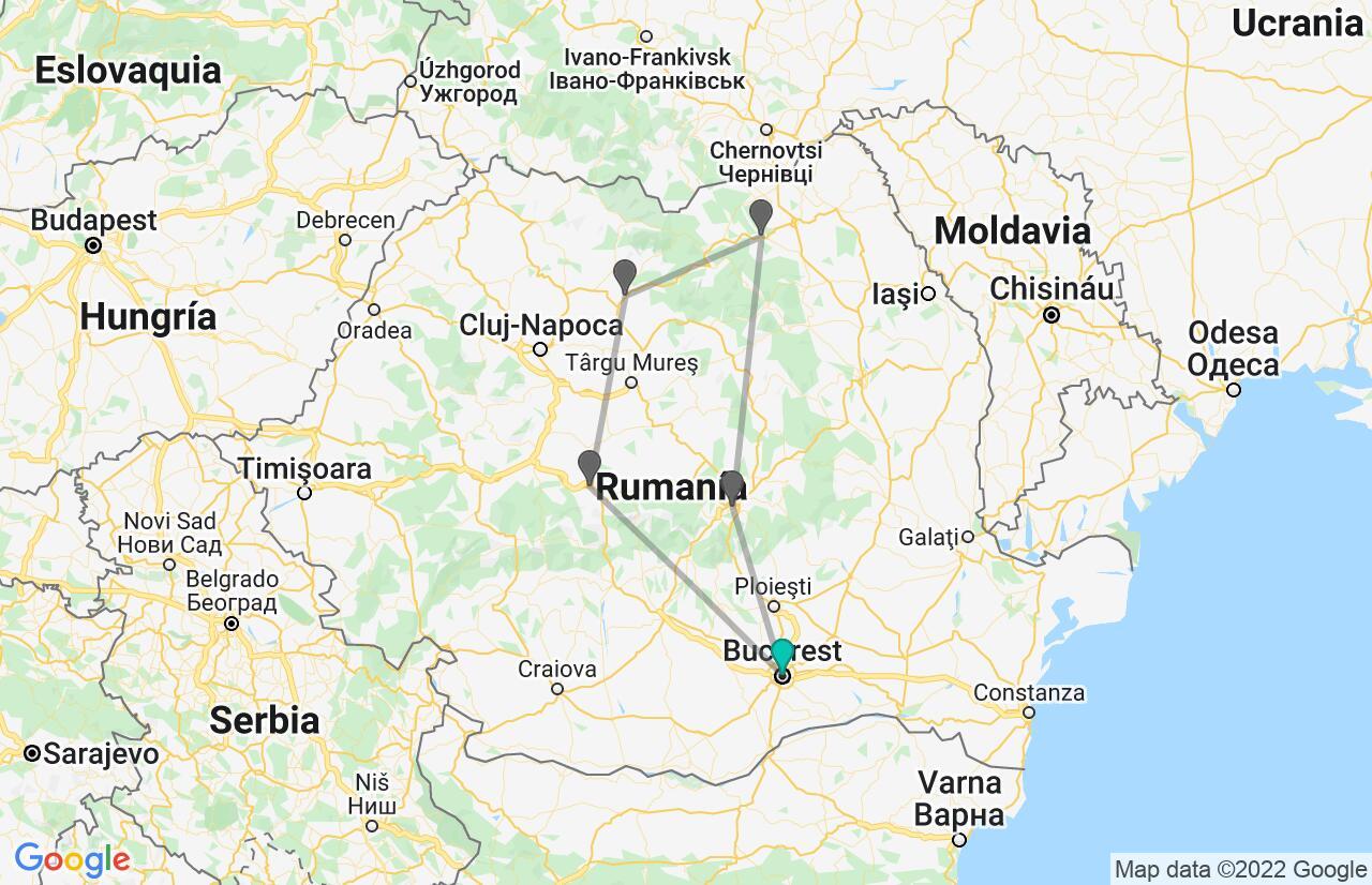 Mapa con el itinerario en Rumania