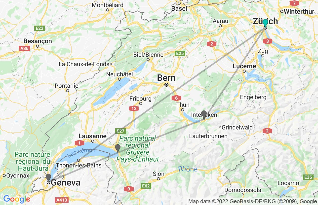 Map with itinerary in Switzerland