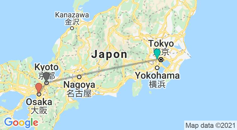 Carte avec l'itinéraire en/aux Japon
