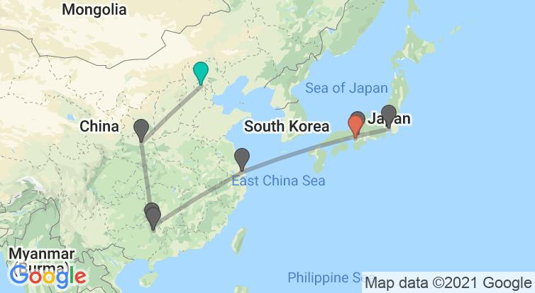 Map with itinerary in China & Japan