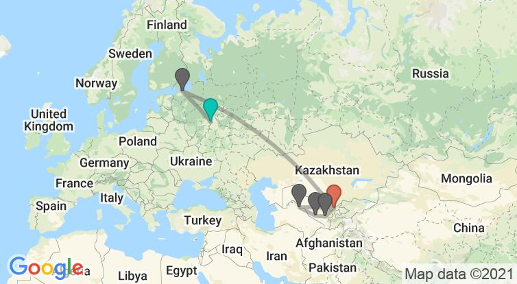 Map with itinerary in Russia & Uzbekistan