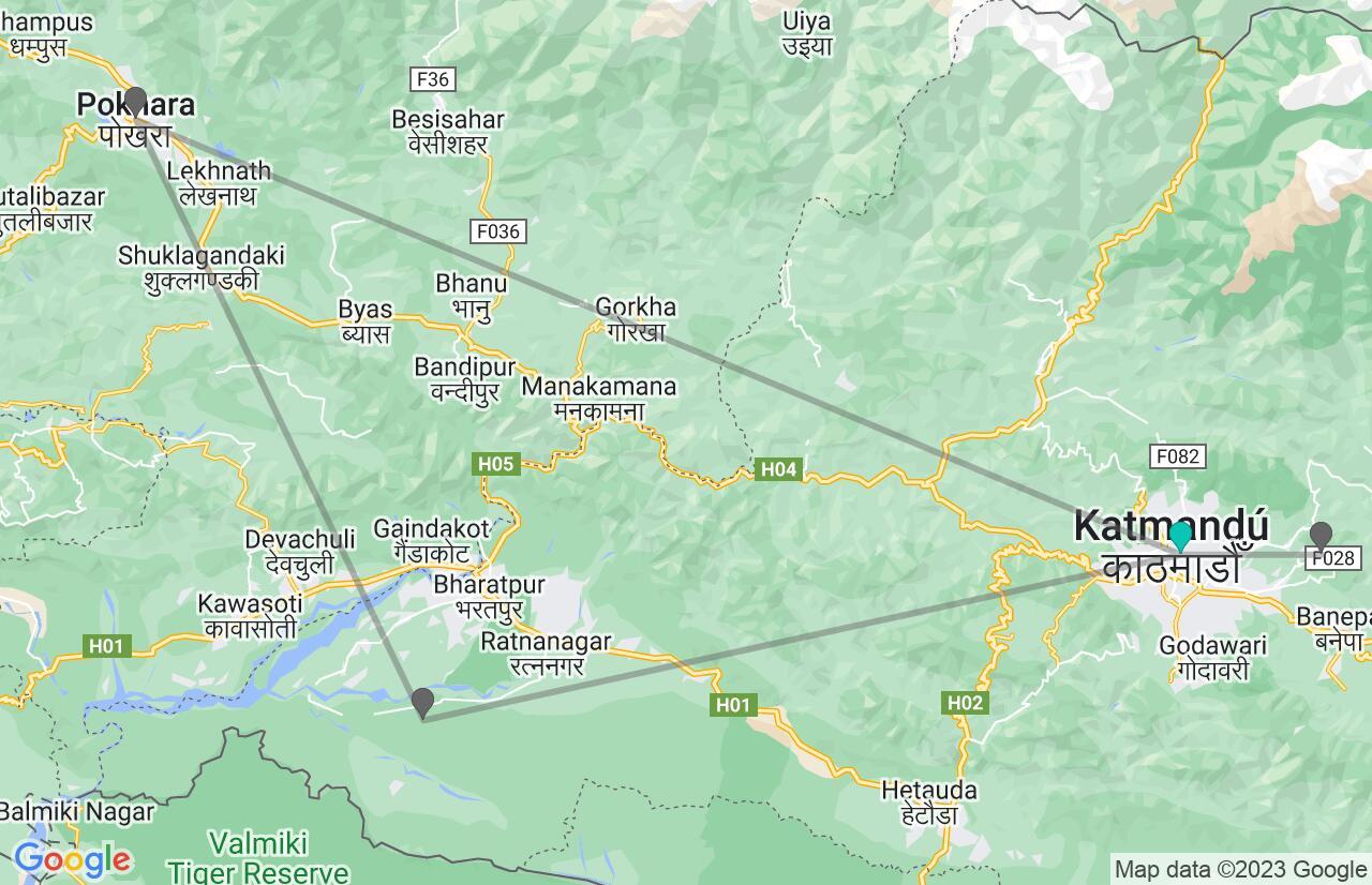 Mapa con el itinerario en Nepal