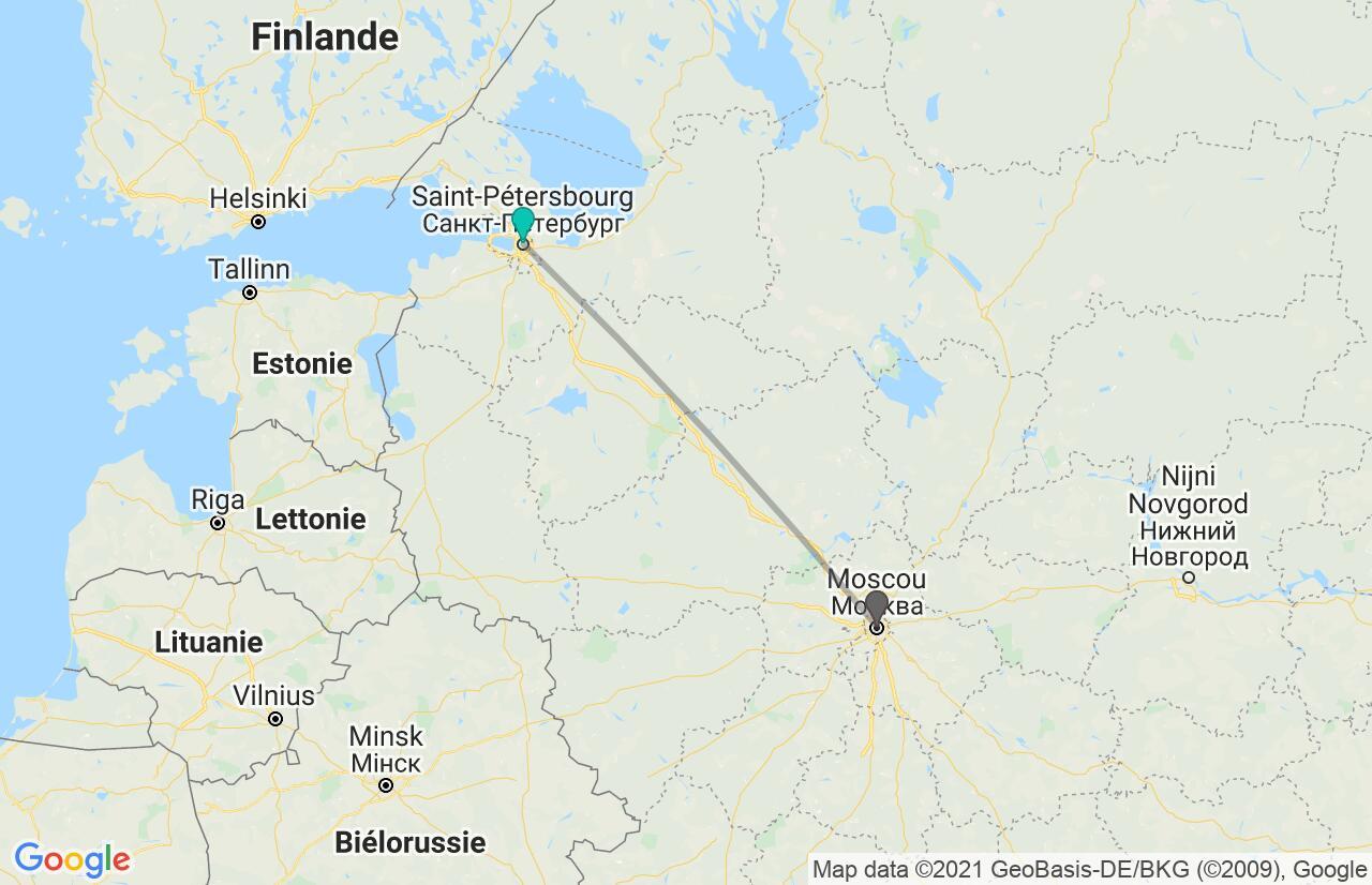Carte avec l'itinéraire en/aux Russie