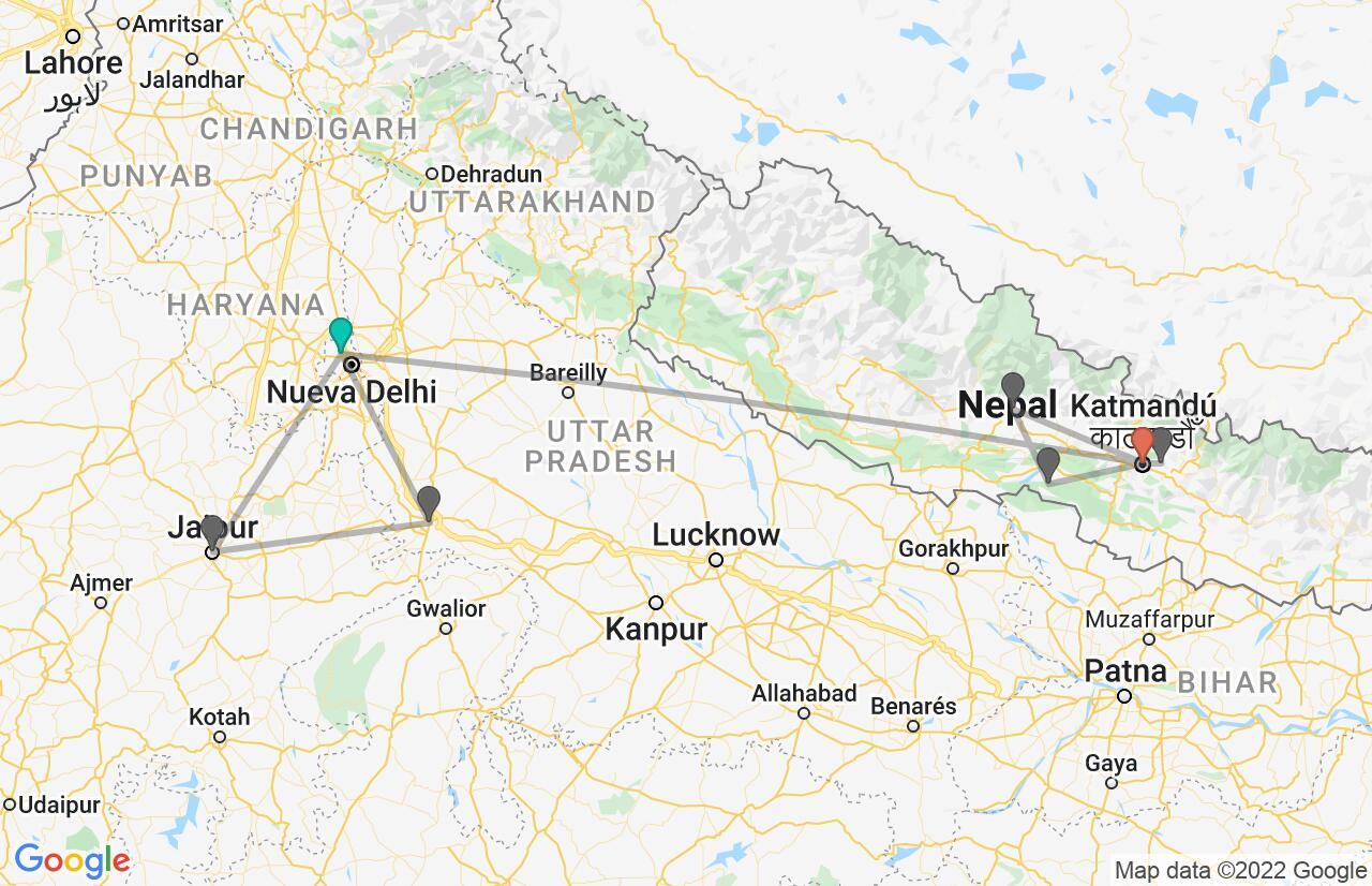 Mapa con el itinerario en India y Nepal