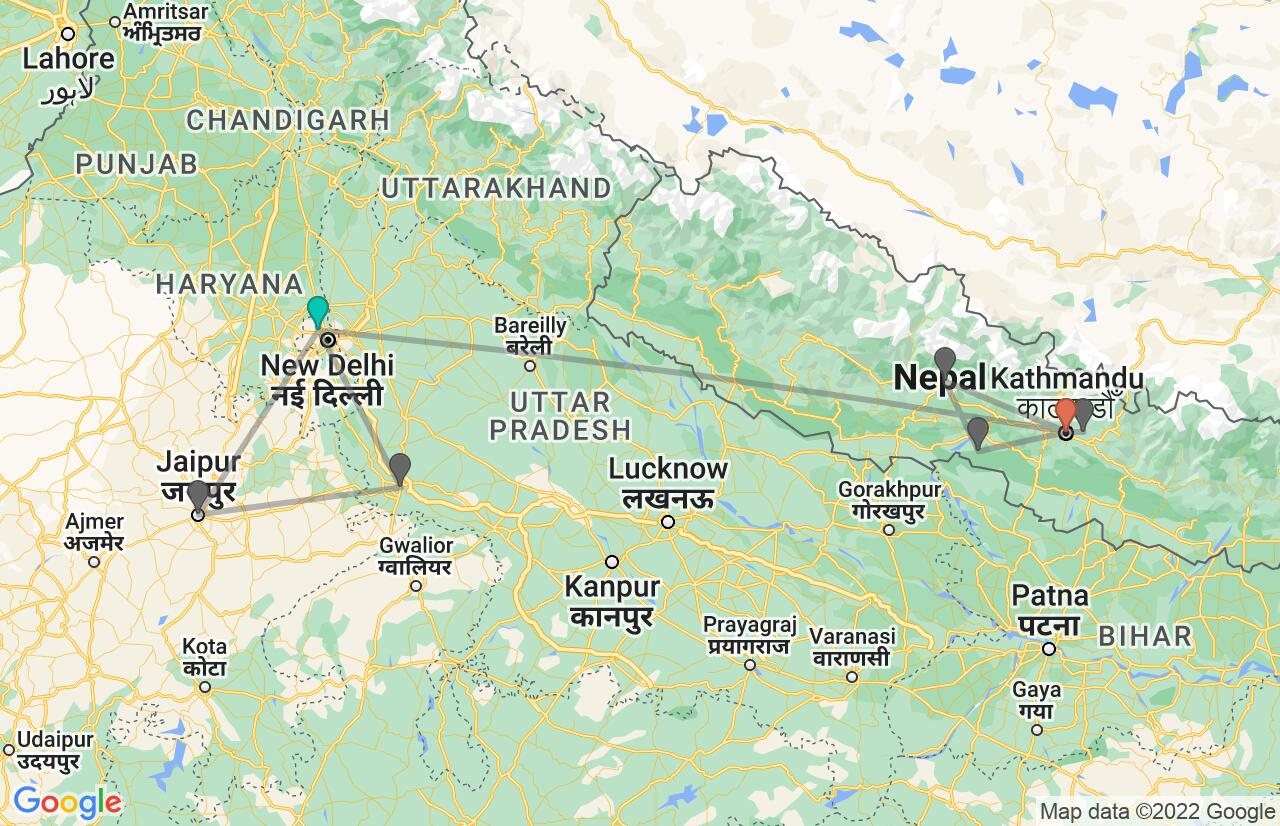Map with itinerary in India & Nepal