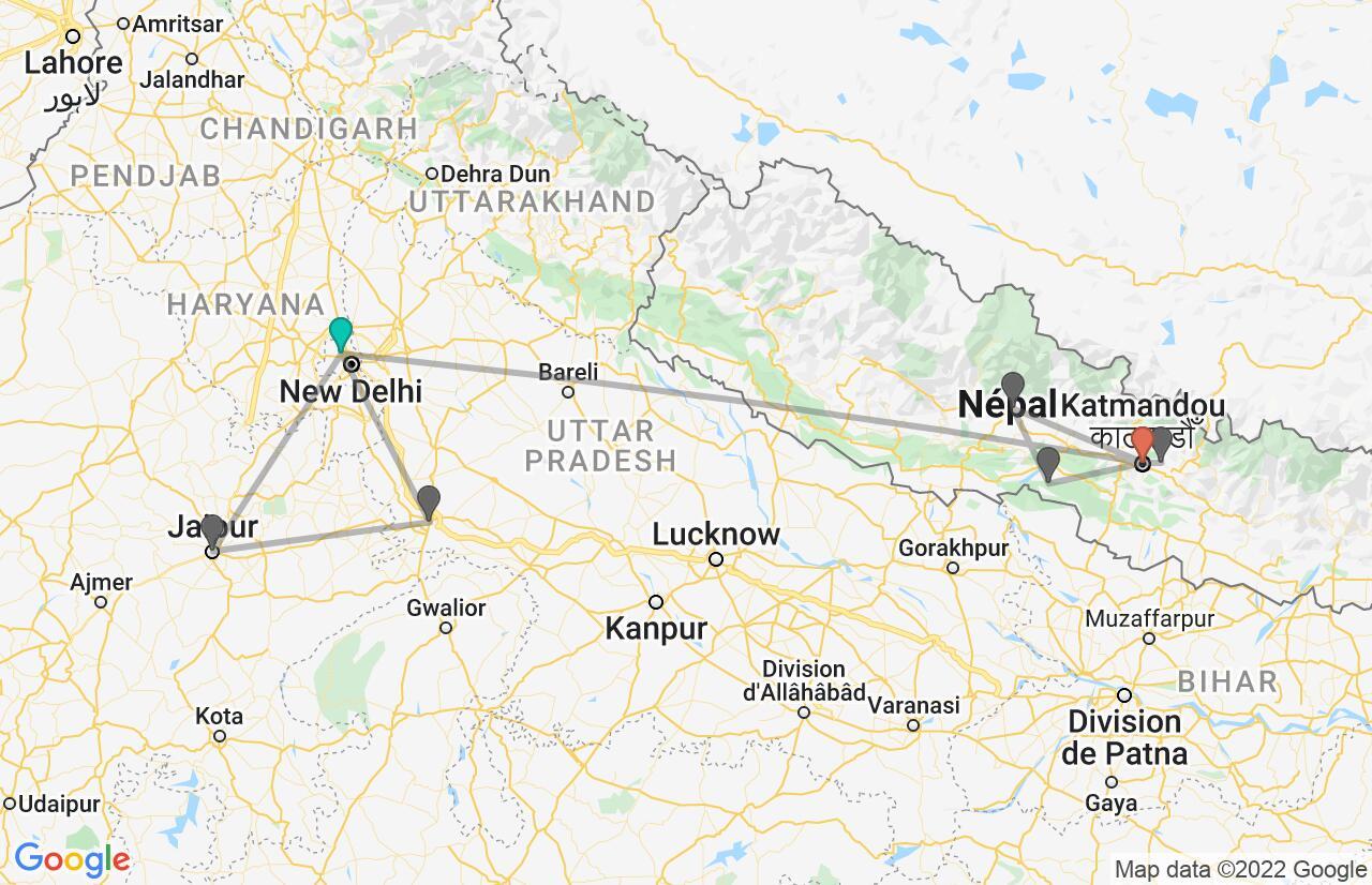 Carte avec l'itinéraire en/aux Inde et Népal