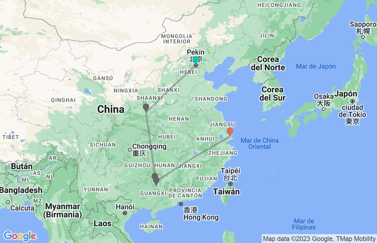 Mapa con el itinerario en China