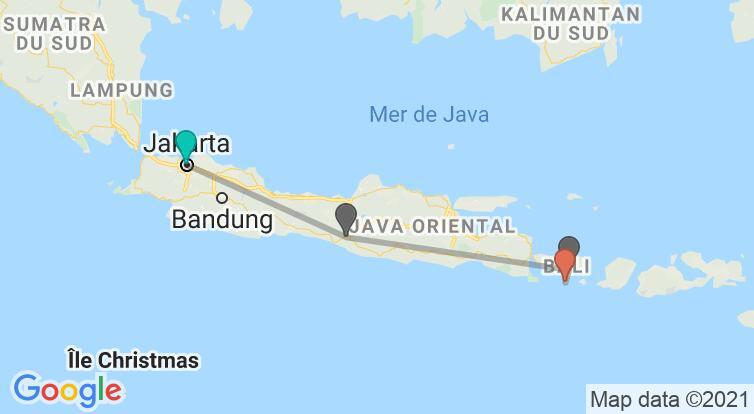 Carte avec l'itinéraire en/aux Indonésie