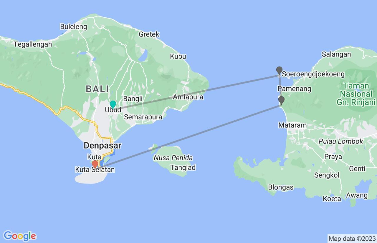 Mapa con el itinerario en Indonesia