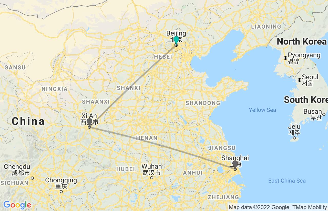 Map with itinerary in China
