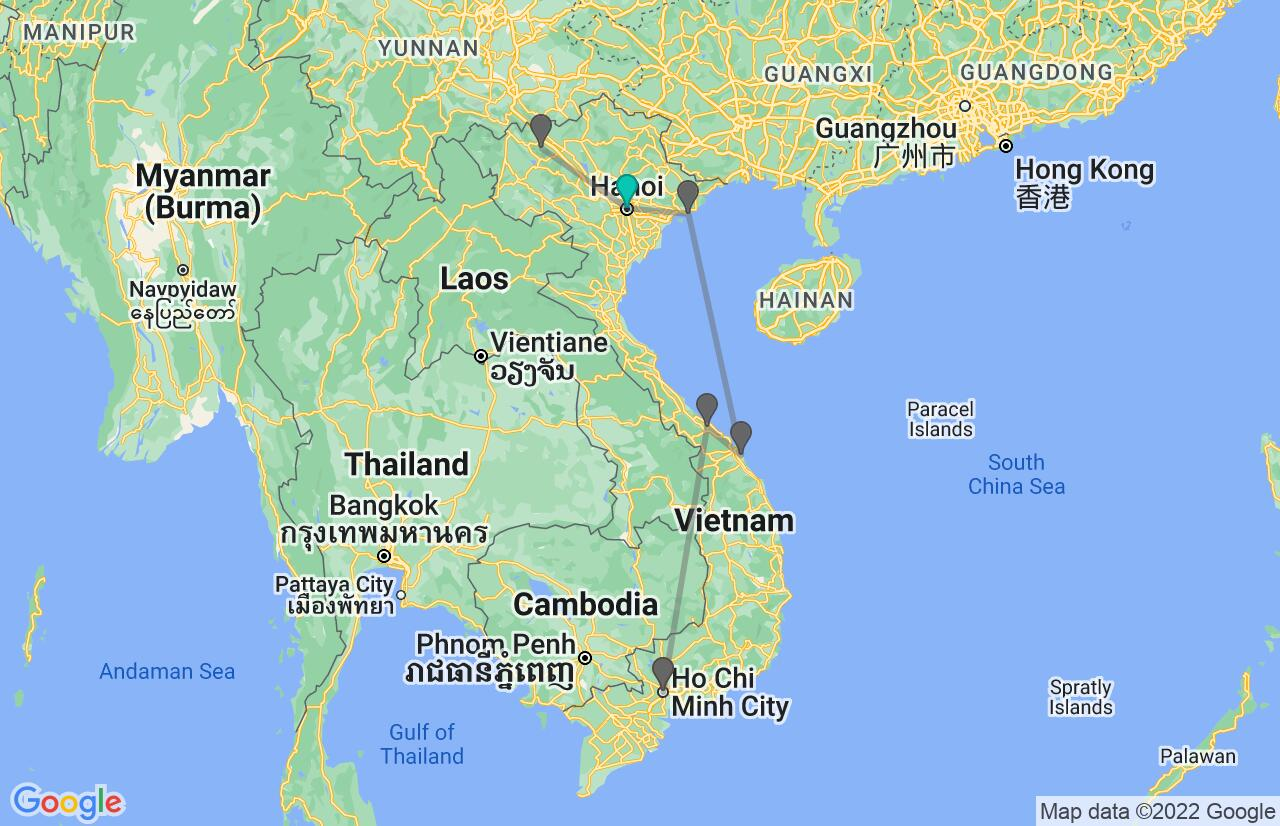 Map with itinerary in Vietnam