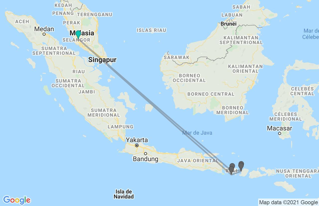 Mapa con el itinerario en Malasia e Indonesia