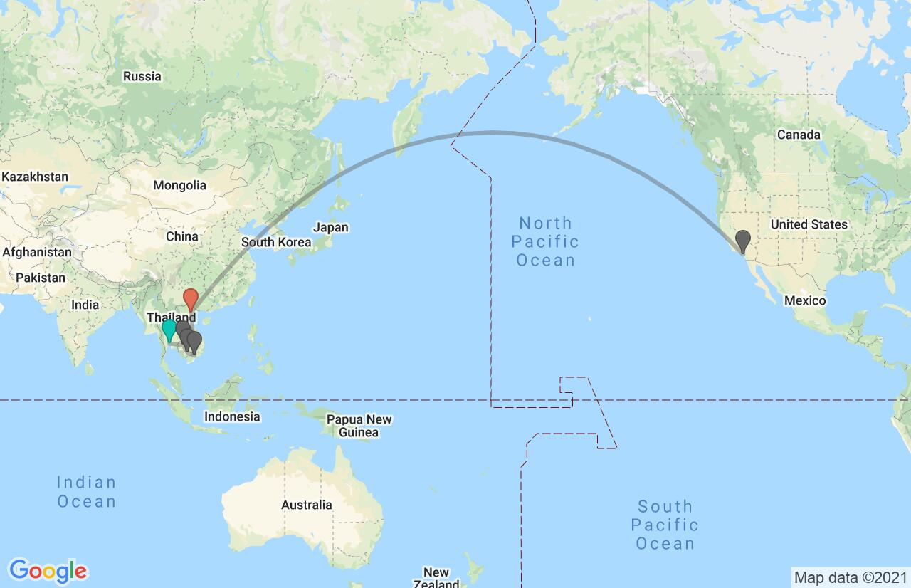 Map with itinerary in Thailand, Cambodia & Vietnam
