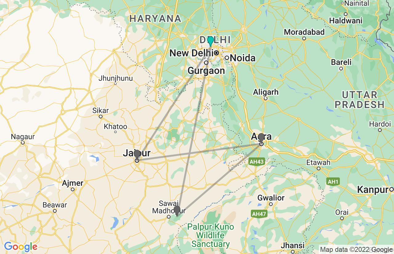 Carte avec l'itinéraire en/aux Inde