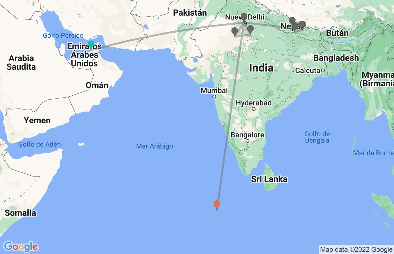 Mapa con el itinerario en EAU, India, Nepal y Maldivas