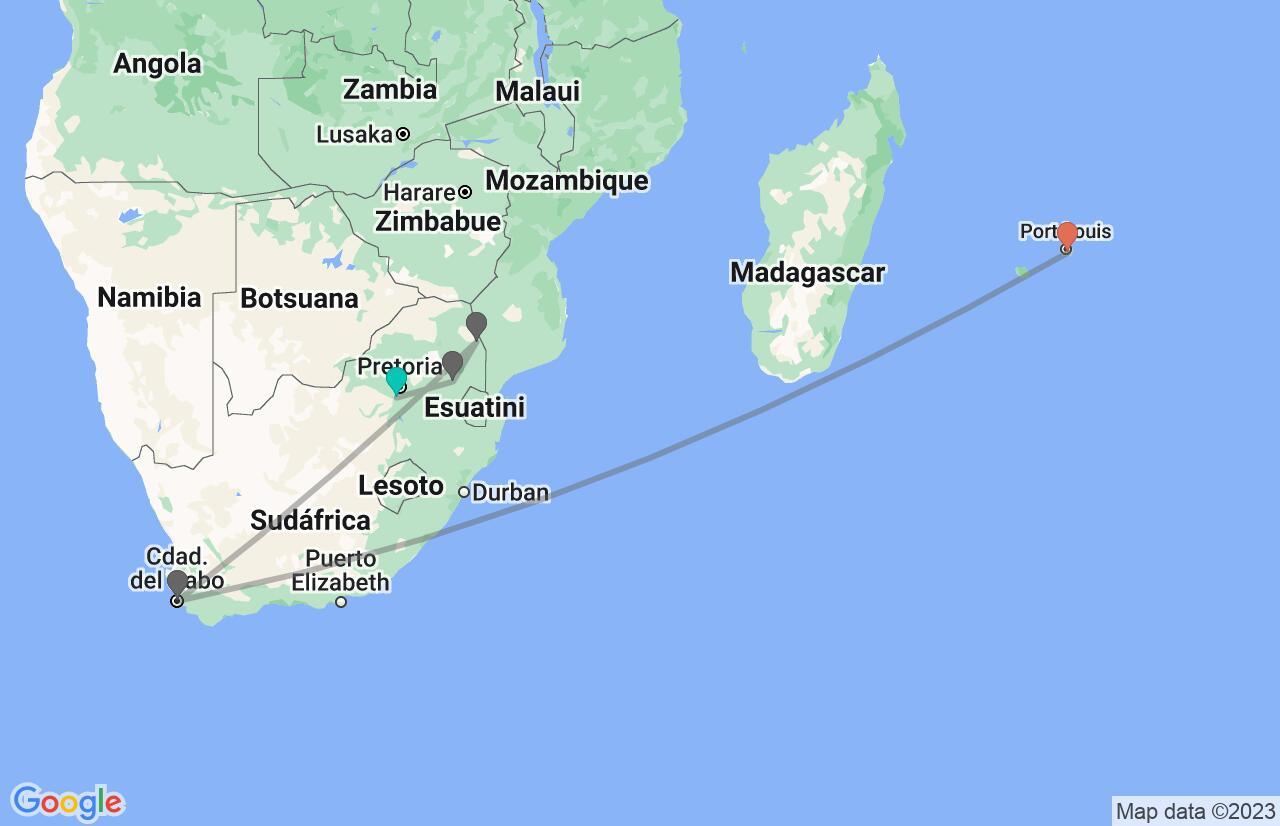 Mapa con el itinerario en Sudáfrica y Mauricio