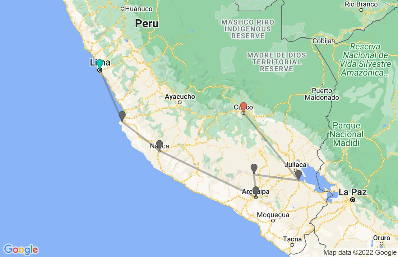 Map with itinerary in Peru