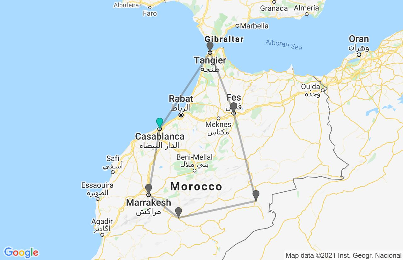 Map with itinerary in Morocco