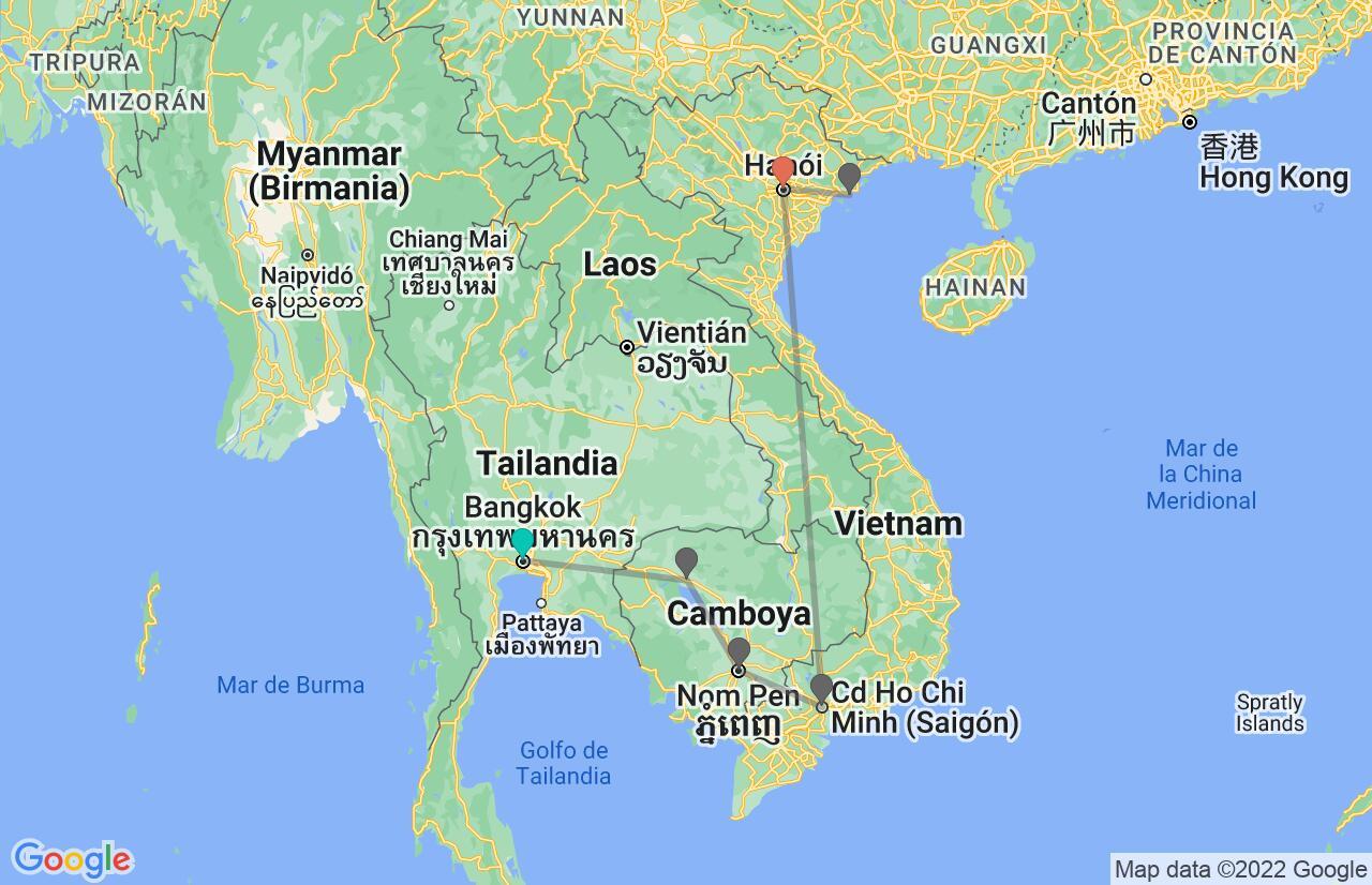 Mapa con el itinerario en Tailandia, Camboya y Vietnam