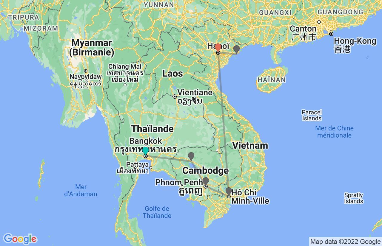 Carte avec l'itinéraire en/aux Thaïlande, Cambodge & Vietnam
