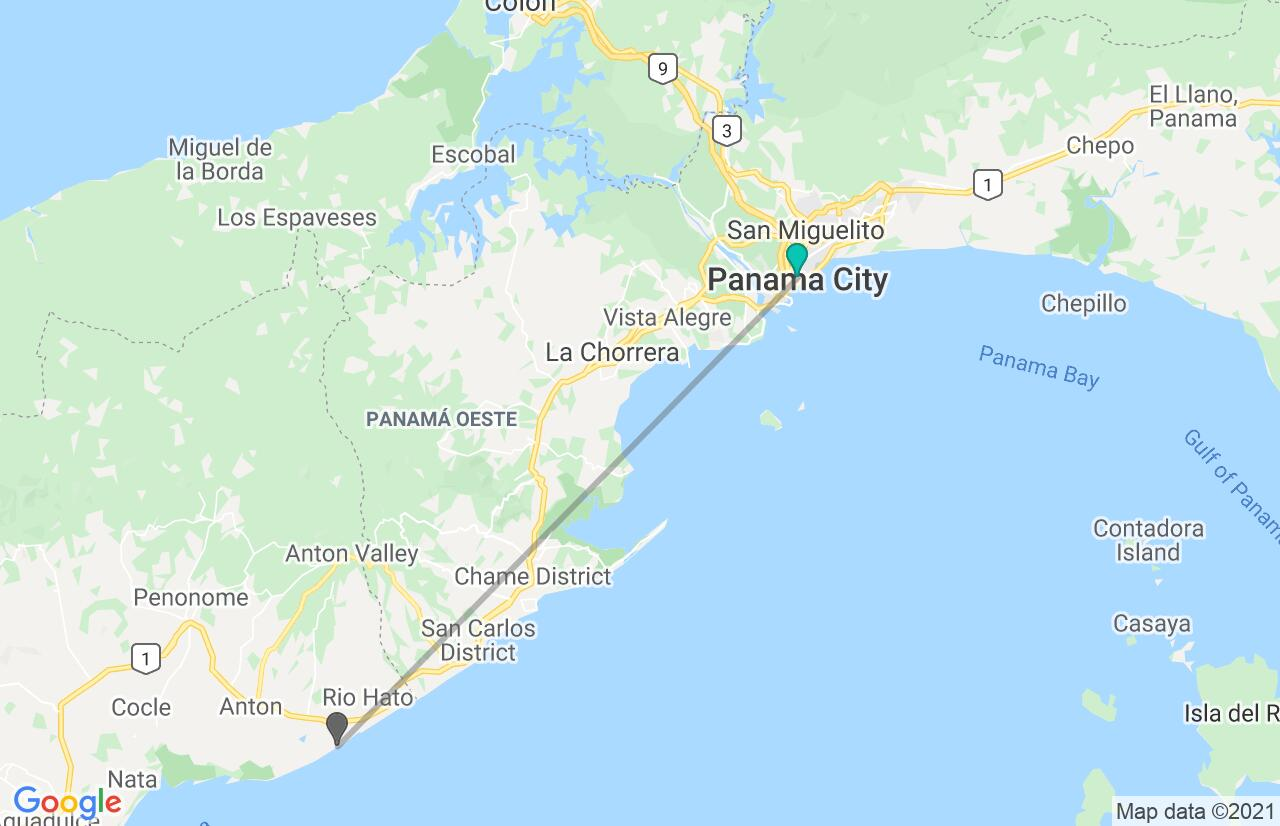 Map with itinerary in Panama