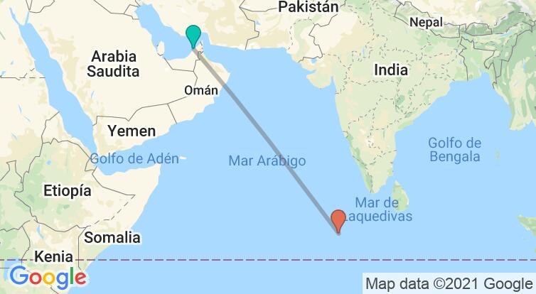 Mapa con el itinerario en Emiratos Árabes y Maldivas
