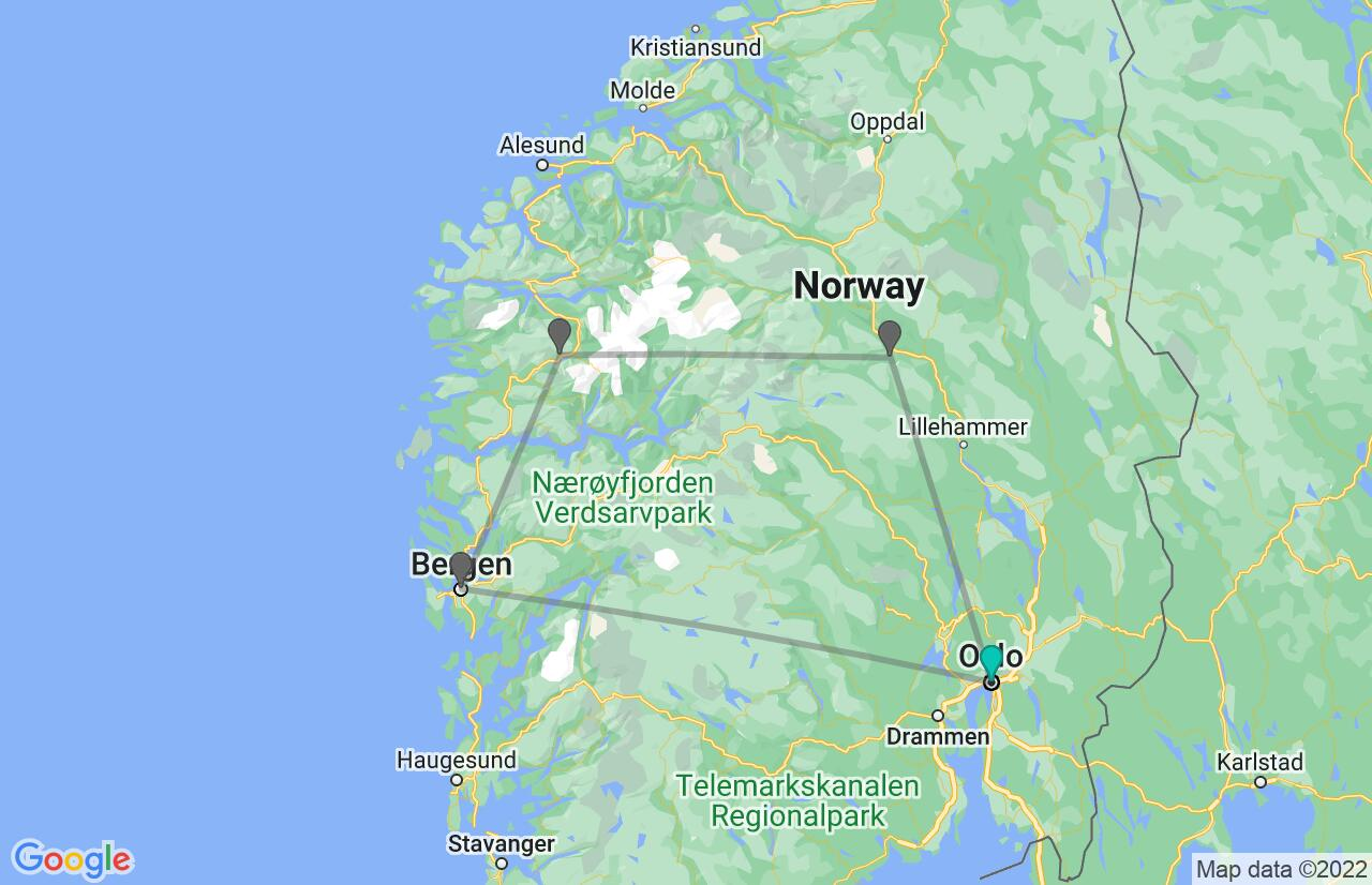 Map with itinerary in Norway
