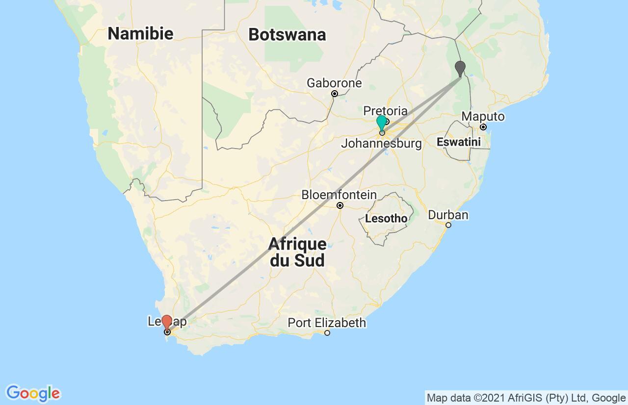 Carte avec l'itinéraire en/aux Afrique du Sud
