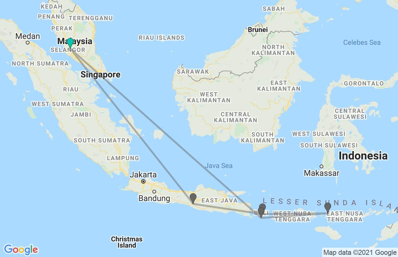 Map with itinerary in Malaysia & Indonesia