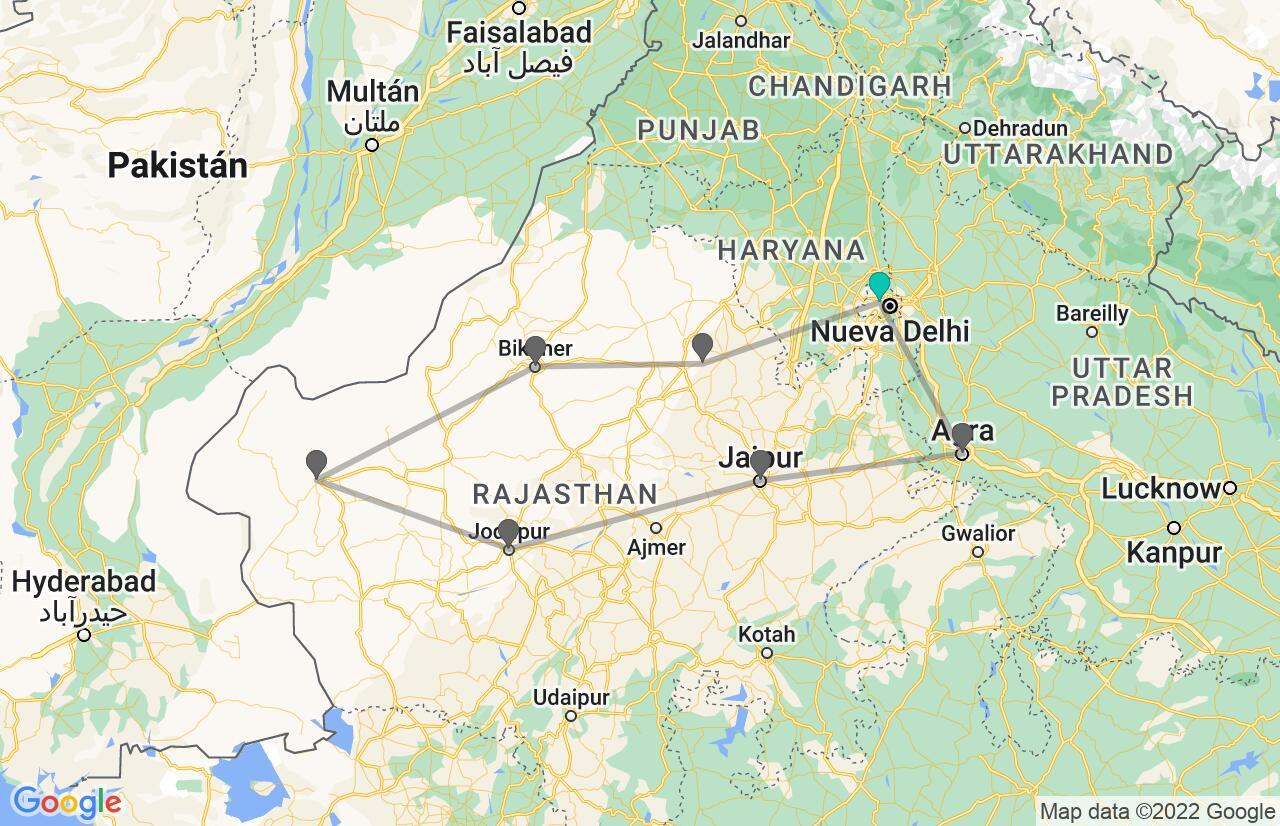 Mapa con el itinerario en India