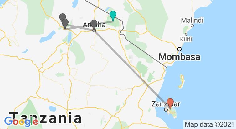 Map with itinerary in Tanzania & Zanzibar